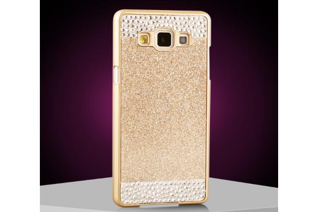 Фирменная роскошная элитная пластиковая задняя панель-накладка украшенная стразами кристалликами с 3D рисунком для Samsung Galaxy A8 SM-A800F/DS/Dual Sim/Duos золотая