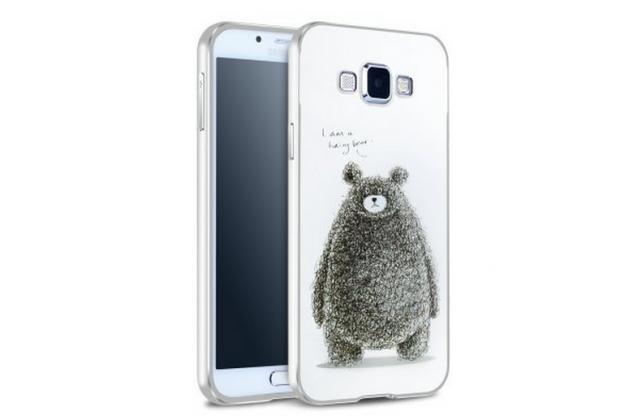 """Фирменная серебряная металлическая задняя панель-крышка-накладка из тончайшего облегченного авиационного алюминия для Samsung Galaxy A8 SM-A800F/DS/Dual Sim/Duos  с объёмным 3D рисунком """"тематика Весёлый Мишка"""""""