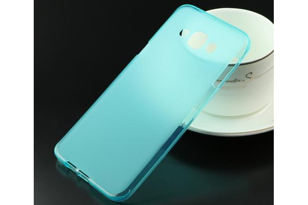 Фирменная ультра-тонкая полимерная из мягкого качественного силикона задняя панель-чехол-накладка для Samsung Galaxy A8 SM-A800F/DS/Dual Sim/Duos  голубая