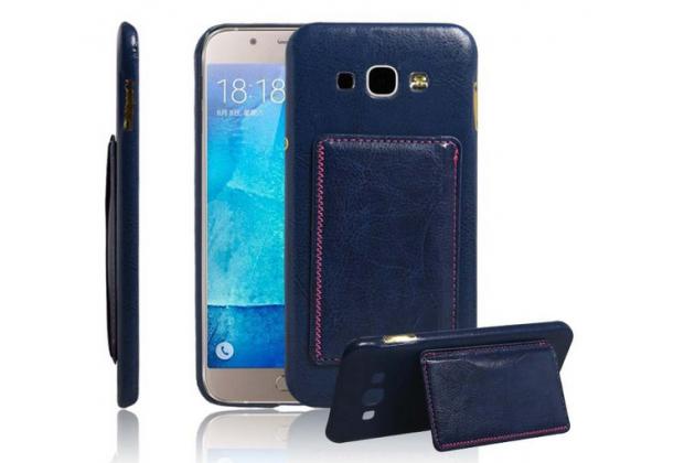 Фирменная роскошная элитная премиальная задняя панель-крышка для Samsung Galaxy A8 SM-A800F/DS/Dual Sim/Duos  из качественной кожи буйвола с визитницей синий