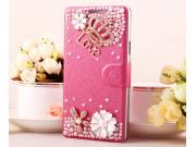Фирменный роскошный чехол-книжка безумно красивый декорированный бусинками и кристаликами на Samsung Galaxy A8..