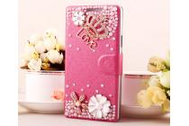 Фирменный роскошный чехол-книжка безумно красивый декорированный бусинками и кристаликами на Samsung Galaxy A8 SM-A800F/DS/Dual Sim/Duos  розовый