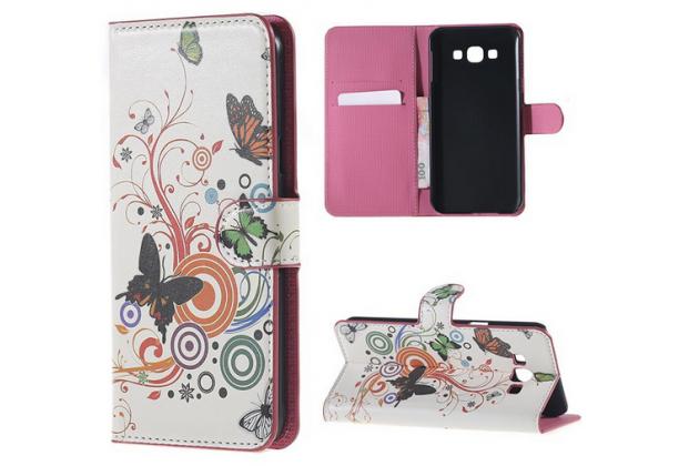 """Фирменный уникальный необычный чехол-книжка для Samsung Galaxy A8 SM-A800F/DS/Dual Sim/Duos  """"тематика радужные Бабочки"""""""