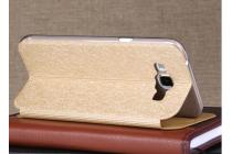 Фирменный чехол-книжка водоотталкивающий с мульти-подставкой на жёсткой металлической основе для Samsung Galaxy A8 SM-A800F/DS/Dual Sim/Duos  золотой