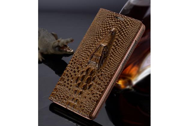 Фирменный роскошный эксклюзивный чехол с объёмным 3D изображением кожи крокодила коричневый для Samsung Galaxy A8 SM-A800F/DS/Dual Sim/Duos . Только в нашем магазине. Количество ограничено