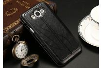 Фирменный оригинальный чехол-книжка для Samsung Galaxy A8 SM-A800F/DS/Dual Sim/Duos  черный кожаный с окошком для входящих вызовов и свайпом