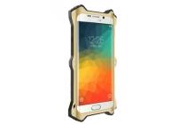 Противоударный усиленный неубиваемый бампер на металлической основе для Samsung Galaxy A8 SM-A800F/DS/Dual Sim/Duos с кожаной накладкой с окошком для входящих вызовов и свайпом золотого цвета