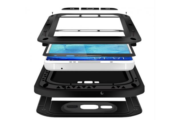 Неубиваемый водостойкий противоударный водонепроницаемый грязестойкий влагозащитный ударопрочный фирменный чехол-бампер для Samsung Galaxy A8 SM-A800F/DS/Dual Sim/Duos цельно-металлический со стеклом Gorilla Glass