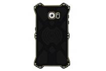 Противоударный усиленный неубиваемый бампер на металлической основе для Samsung Galaxy A8 SM-A800F/DS/Dual Sim/Duos с кожаной накладкой с окошком для входящих вызовов и свайпом  черного цвета