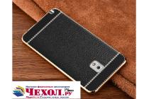 Фирменная премиальная элитная крышка-накладка на Samsung Galaxy Note 3 черная из качественного силикона с дизайном под кожу