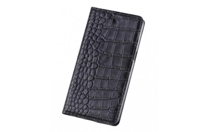 """Фирменный чехол-книжка с подставкой для Samsung Galaxy A3 (2016) SM-A310/ A3100/ A310F 4.7""""  лаковая кожа крокодила черный"""