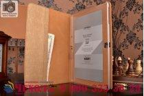 Фирменный умный Smart-чехол с функцией засыпания с расписным узором ручной работы для Samsung Galaxy Note 10.1 2014 SM-P6000/P6050/LTE P607 с визитницей из качественной импортной кожи золотой производство Вьетнам