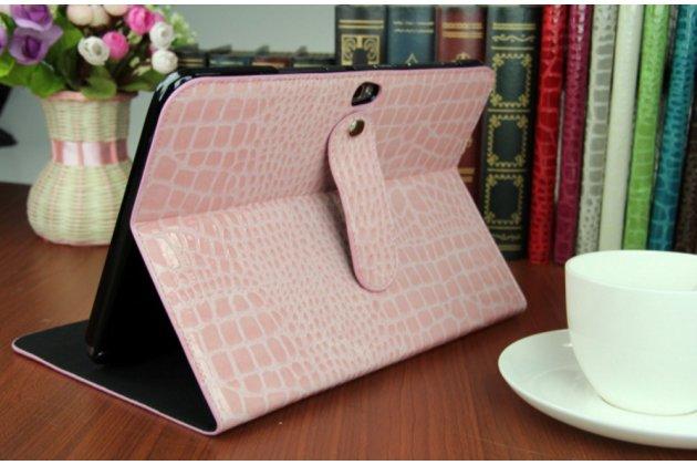 Фирменный чехол-футляр с мульти-подставкой для Samsung Galaxy Note 10.1 N8000 лаковая кожа крокодила розовый