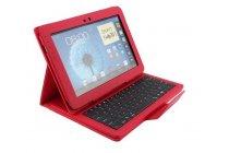 Фирменный чехол со съёмной Bluetooth-клавиатурой для Samsung Galaxy Note 10.1 N8000/N8010 красный кожаный + гарантия