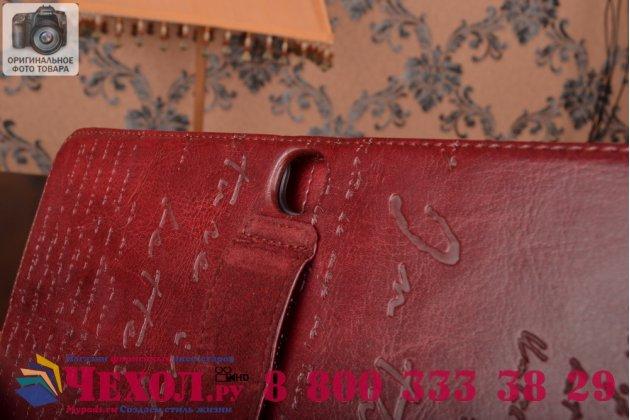 Фирменный уникальный чехол с мульти-подставкой дизайнерским почерком ручной работы для Samsung Galaxy Tab 3 10.1 GT-P5200/P5210/P5220 с визитницей из качественной импортной кожи бордо производство Вьетнам
