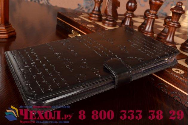 Фирменный уникальный чехол с мульти-подставкой дизайнерским почерком ручной работы для Samsung Galaxy tab 3 8.0 SM T310/T311/T315 с визитницей из качественной импортной кожи черный производство Вьетнам