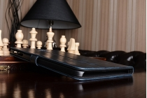 """Фирменный премиальный чехол бизнес класса для Samsung Galaxy Tab A 10.1 2016  SM-T580 / T585C / T585N"""" с визитницей из качественной импортной кожи """"Ретро"""" синий"""