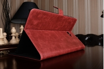 """Фирменный премиальный чехол бизнес класса для Samsung Galaxy Tab A 10.1 2016  SM-T580 / T585C / T585N"""" с визитницей из качественной импортной кожи """"Ретро"""" красный"""