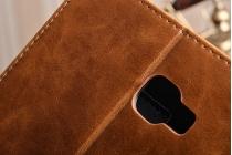 """Фирменный премиальный чехол бизнес класса для Samsung Galaxy Tab A 10.1 2016  SM-T580 / T585C / T585N"""" с визитницей из качественной импортной кожи """"Ретро"""" коричневый"""