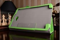 """Фирменный чехол бизнес класса для Samsung Galaxy Tab A 10.1 2016  SM-T580 / T585C / T585N с визитницей и держателем для руки зеленый натуральная кожа """"Prestige"""" Италия"""