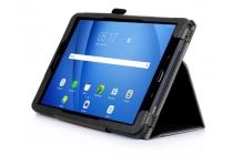 """Фирменный чехол бизнес класса для Samsung Galaxy Tab A 10.1 2016  SM-T580 / T585C / T585N с визитницей и держателем для руки черный натуральная кожа """"Prestige"""" Италия"""