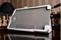 """Фирменный чехол бизнес класса для Samsung Galaxy Tab A 10.1 2016  SM-T580 / T585C / T585N с визитницей и держателем для руки белый натуральная кожа """"Prestige"""" Италия"""