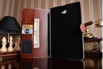 """Фирменный чехол-обложка с подставкой и визитницей для Samsung Galaxy Tab A 10.1 2016  SM-T580 / T585C / T585N"""" тематика Розы в винтажном стиле"""" голубой"""