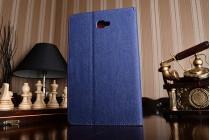 Фирменный чехол-обложка с визитницей и застежкой для Samsung Galaxy Tab A 10.1 2016  SM-T580 / T585C / T585N синий из настоящей джинсы