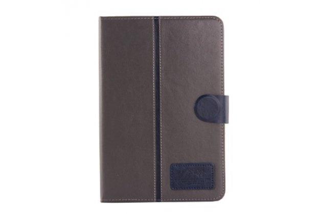 """Фирменный премиальный чехол для Samsung Galaxy Tab A 8.0 SM-T350/T351/T355 с визитницей из качественной импортной кожи """"Ретро"""" серый с синей полосой"""