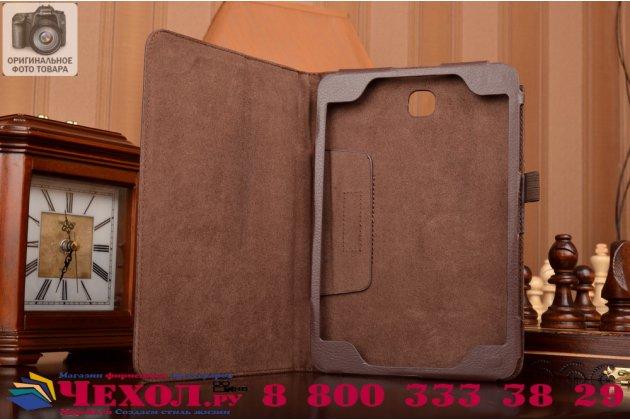 Фирменный чехол-обложка с подставкой для Samsung Galaxy Tab A 8.0 SM-T350/T351/T355 коричневый кожаный