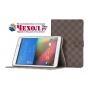 Фирменный чехол-обложка для Samsung Galaxy Tab A 8.0 SM-T350/T351/T355 в клетку коричневый кожаный..