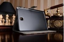 Фирменный чехол-обложка для Samsung Galaxy Tab A 8.0 SM-T350/T351/T355 в клетку коричневый кожаный