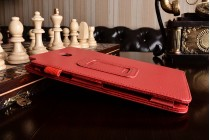 Фирменный чехол-обложка с подставкой для Samsung Galaxy Tab A 8.0 SM-T350/T351/T355 красный кожаный