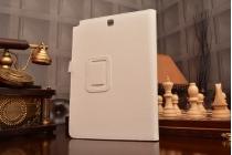 """Фирменный чехол бизнес класса для Samsung Galaxy Tab A 9.7 SM-T550/T555 с визитницей и держателем для руки белый натуральная кожа """"Prestige"""" Италия"""