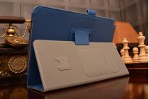 """Фирменный чехол бизнес класса для Samsung Galaxy Tab A 9.7 SM-T550/T555 с визитницей и держателем для руки синий натуральная кожа """"Prestige"""" Италия"""