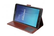 """Фирменный чехол-обложка с подставкой и визитницей для Samsung Galaxy Tab E 9.6 SM-T560N/T561N/T565N """"тематика Розы в винтажном стиле"""" голубой"""