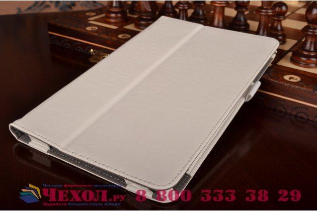 "Фирменный чехол бизнес класса для Samsung Galaxy Tab E 9.6 SM-T560N/T561N/T565N с визитницей и держателем для руки белый натуральная кожа ""Prestige"" Италия"