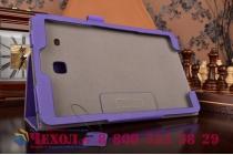 "Фирменный чехол бизнес класса для Samsung Galaxy Tab E 9.6 SM-T560N/T561N/T565N с визитницей и держателем для руки фиолетовый натуральная кожа ""Prestige"" Италия"