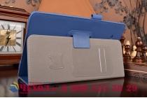"Фирменный чехол бизнес класса для Samsung Galaxy Tab E 9.6 SM-T560N/T561N/T565N с визитницей и держателем для руки синий натуральная кожа ""Prestige"" Италия"