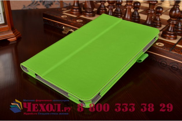 "Фирменный чехол бизнес класса для Samsung Galaxy Tab E 9.6 SM-T560N/T561N/T565N с визитницей и держателем для руки зелёный натуральная кожа ""Prestige"" Италия"