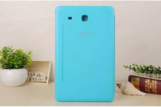 """Чехол с логотипом для Samsung Galaxy Tab E 9.6 SM-T560N/T561N/T565N с дизайном """"Book Cover"""" голубой"""