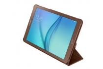 "Чехол с логотипом для Samsung Galaxy Tab E 9.6 SM-T560N/T561N/T565N с дизайном ""Book Cover"" коричневый"