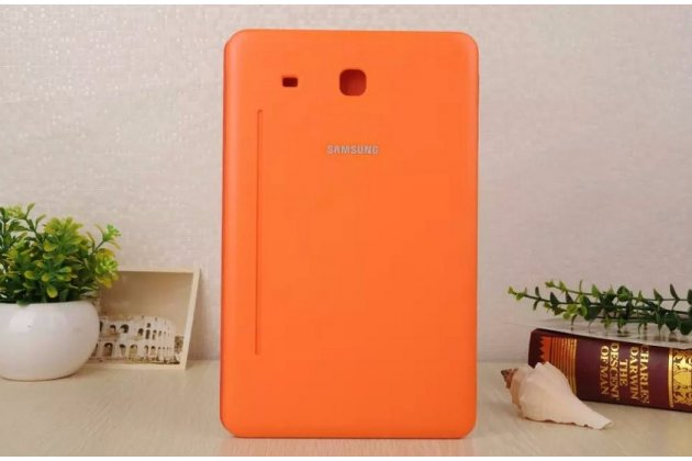 "Чехол с логотипом для Samsung Galaxy Tab E 9.6 SM-T560N/T561N/T565N с дизайном ""Book Cover"" оранжевый"