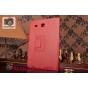 Фирменный чехол-обложка с подставкой для Samsung Galaxy Tab E 9.6 SM-T560N/T561N/T565N красный кожаный..