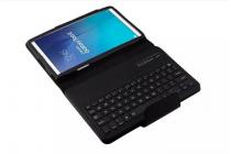 Фирменный оригинальный чехол со съёмной Bluetooth-клавиатурой для Samsung Galaxy Tab E 9.6 SM-T560N/T561N/T565N черный кожаный + гарантия