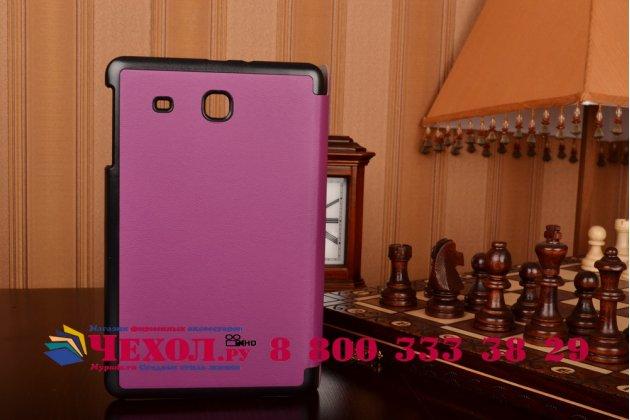 """Фирменный умный чехол-книжка самый тонкий в мире для Samsung Galaxy Tab E 9.6 T560N/T561N/T565N """"Il Sottile"""" фиолетовый кожаный"""