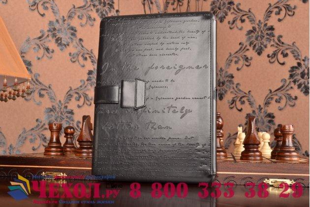 Фирменный уникальный чехол с мульти-подставкой дизайнерским почерком ручной работы для Samsung Galaxy Tab Pro 10.1 SM T520/T525 из качественной импортной кожи черный производство Вьетнам