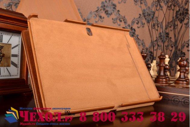 Фирменный уникальный чехол с мульти-подставкой дизайнерским почерком ручной работы для Samsung Galaxy Tab Pro 10.1 SM T520/T525 из качественной импортной кожи коричневый производство Вьетнам