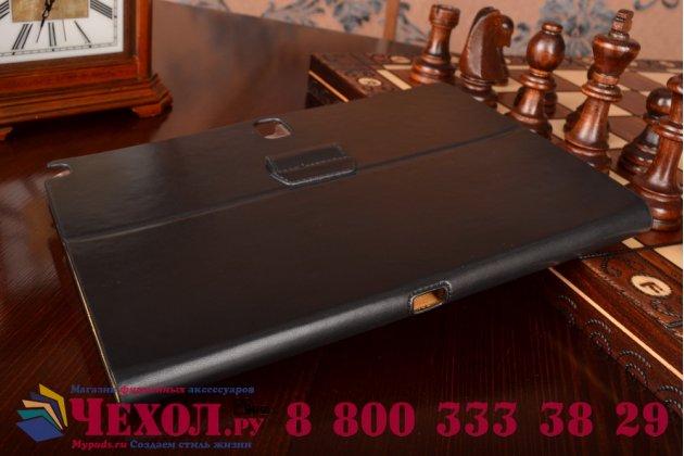 Фирменный умный Smart-чехол с функцией засыпания бизнес класса ручной работы для Samsung Galaxy Tab Pro 10.1 SM T520/T525 с визитницей из качественной импортной кожи черный производство Вьетнам