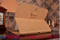 Фирменный умный Smart-чехол с функцией засыпания с расписным узором ручной работы для Samsung Galaxy Tab Pro 10.1 SM T520/T525 с визитницей из качественной импортной кожи золотой производство Вьетнам